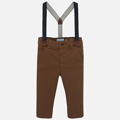 2532 Mayoral Boys Chocolate Brown Chino Pants w/ Suspenders