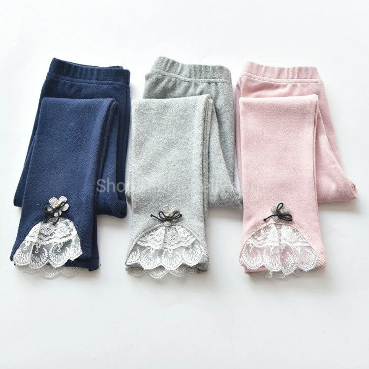 little girls stretch leggings with lace trim and ruffles pink navy grey