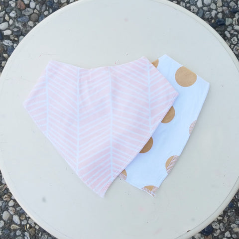Snap Back, Bandana Bibs, Adjustable, 2 PK - Peach Stripe & Mustard Dot
