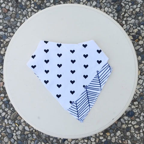 Bandana Bibs, Adjustable Snap Back, 2 PK - B/W Hearts & Navy Geo Stripes