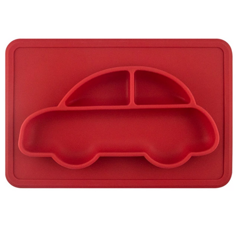 Car - Silicone Bowl + Placemat All-In-One, Red