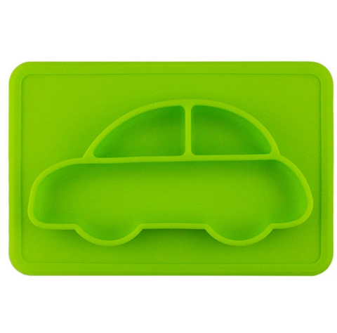Car - Silicone Bowl + Placemat All-In-One, Lime Green