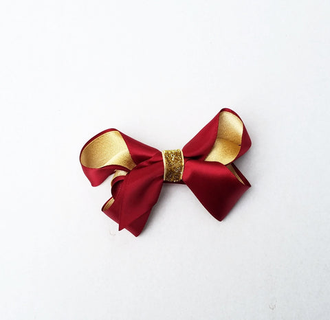 "Handmade Non-Slip Hair Clips - 3.75"" Red & Gold Satin Bow"