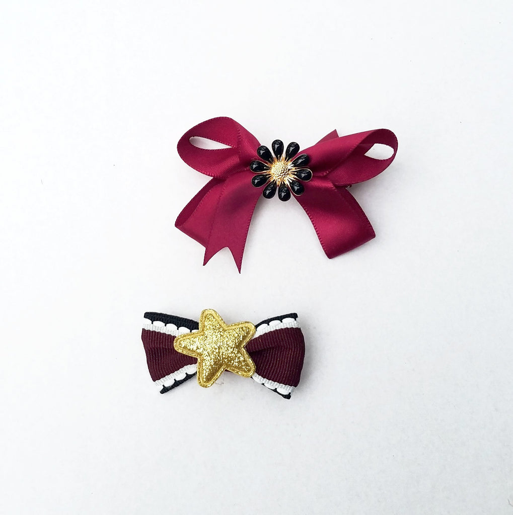 Handmade Non-Slip Hair Clips - Embellished Reds - (CLICK FOR MORE OPTIONS)