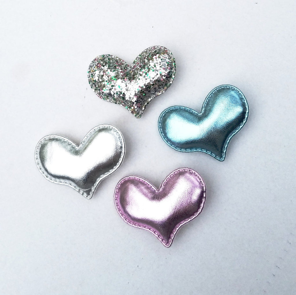 Handmade Non-Slip Hair Clips - Puffy Metallic Hearts - (CLICK FOR MORE OPTIONS)