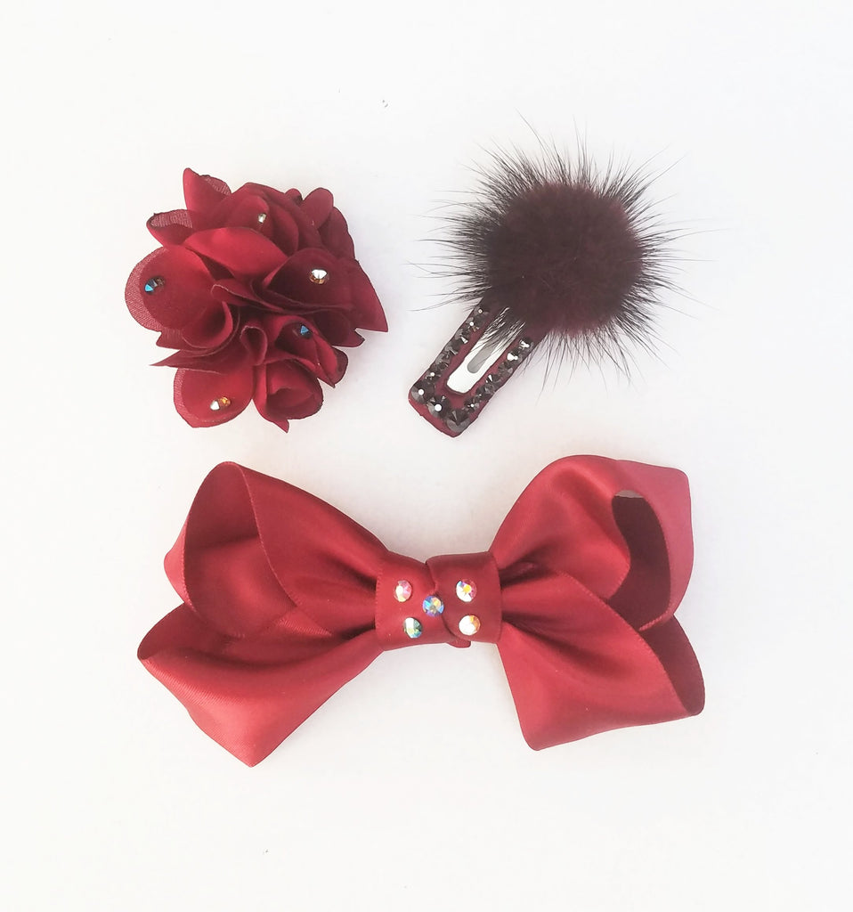Swarovski Crystal, Handmade Non-Slip Hair Clips - Little Lady in Red - (CLICK FOR OPTIONS)