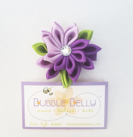Handmade Non-Slip Hair Clips - 3D Grosgrain Flowers - Purple & Green