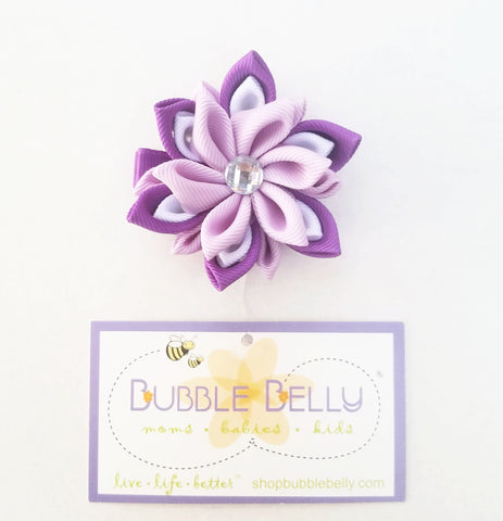 Handmade Non-Slip Hair Clips - 3D Grosgrain Flowers - Purple, Lavender & White