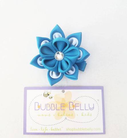 Handmade Non-Slip Hair Clips - 3D Grosgrain Flowers - Bright Blue & White