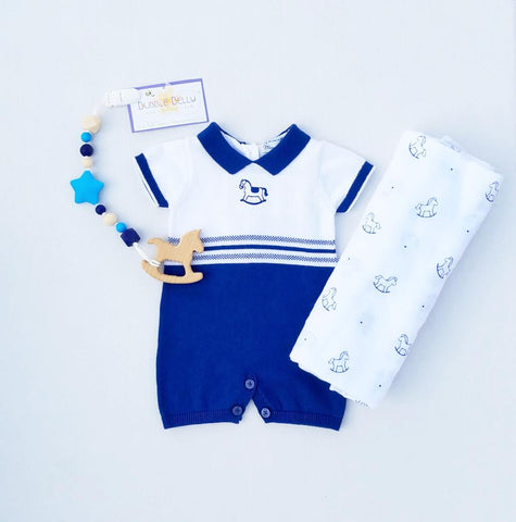 3 PC Gift Set, Mayoral 1603 Classic Rocking Horse Boys Knit Romper