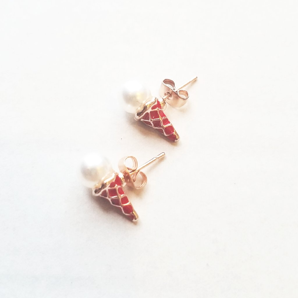 Earrings for Pierced Ears, Enamel & Faux Pearl Ice Cream Cones, Candy Red