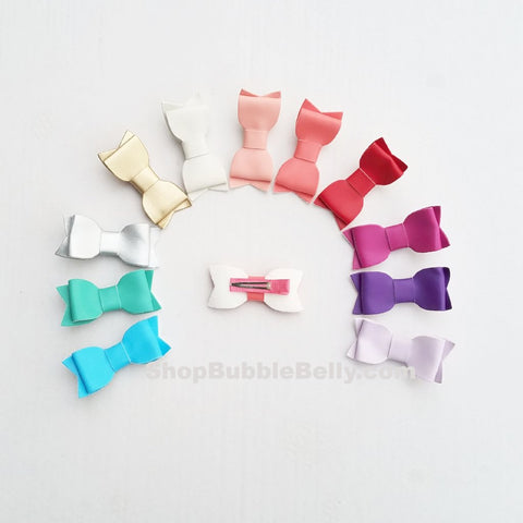 "Handmade Non-Slip Hair Clips - 2.75"" Leatherette Bows - (CLICK FOR OPTIONS)"