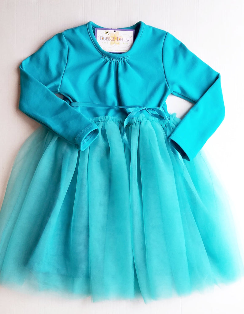 Teal Blue Long Sleeve Tutu Spring Dress for Little Girls Dance or everyday playwear