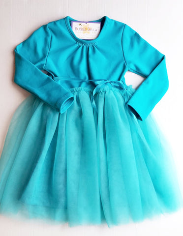 """Jolie"" Girls Blue Dress, Jewel Toned Tutu Spring Dress, Long Sleeve, Teal"