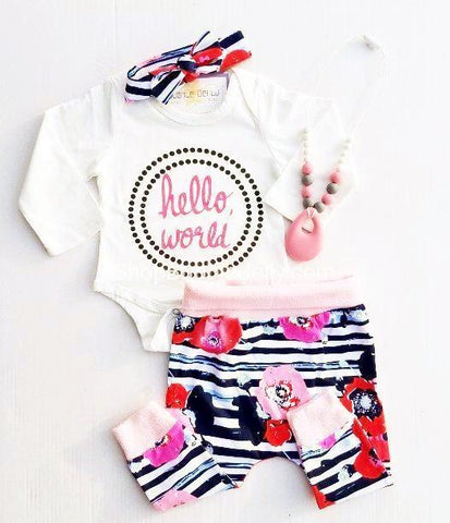"""Hello, World"" Infant 3 PC Set, Fleece & Floral Bodysuit Baby Gift Set"