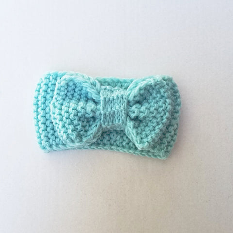 Handmade Knit Bow Headband & Ear Covers -  Aqua