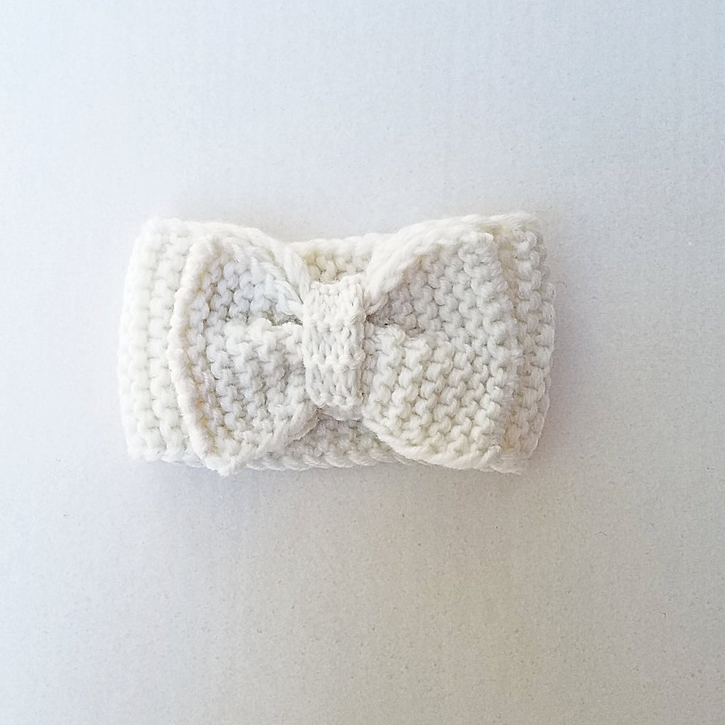 ivory handmade knit bow headband for kids