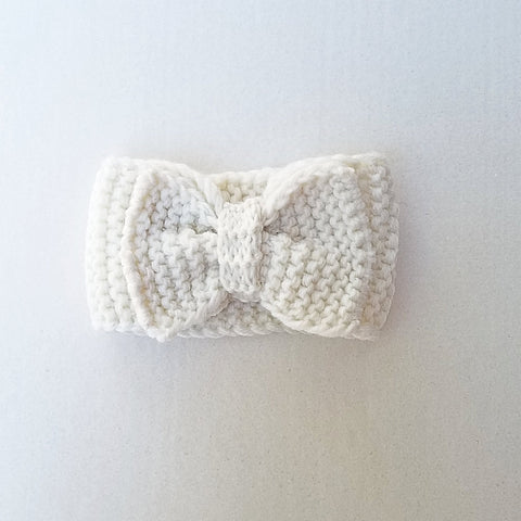 Handmade Knit Bow Headband & Ear Covers -  Ivory