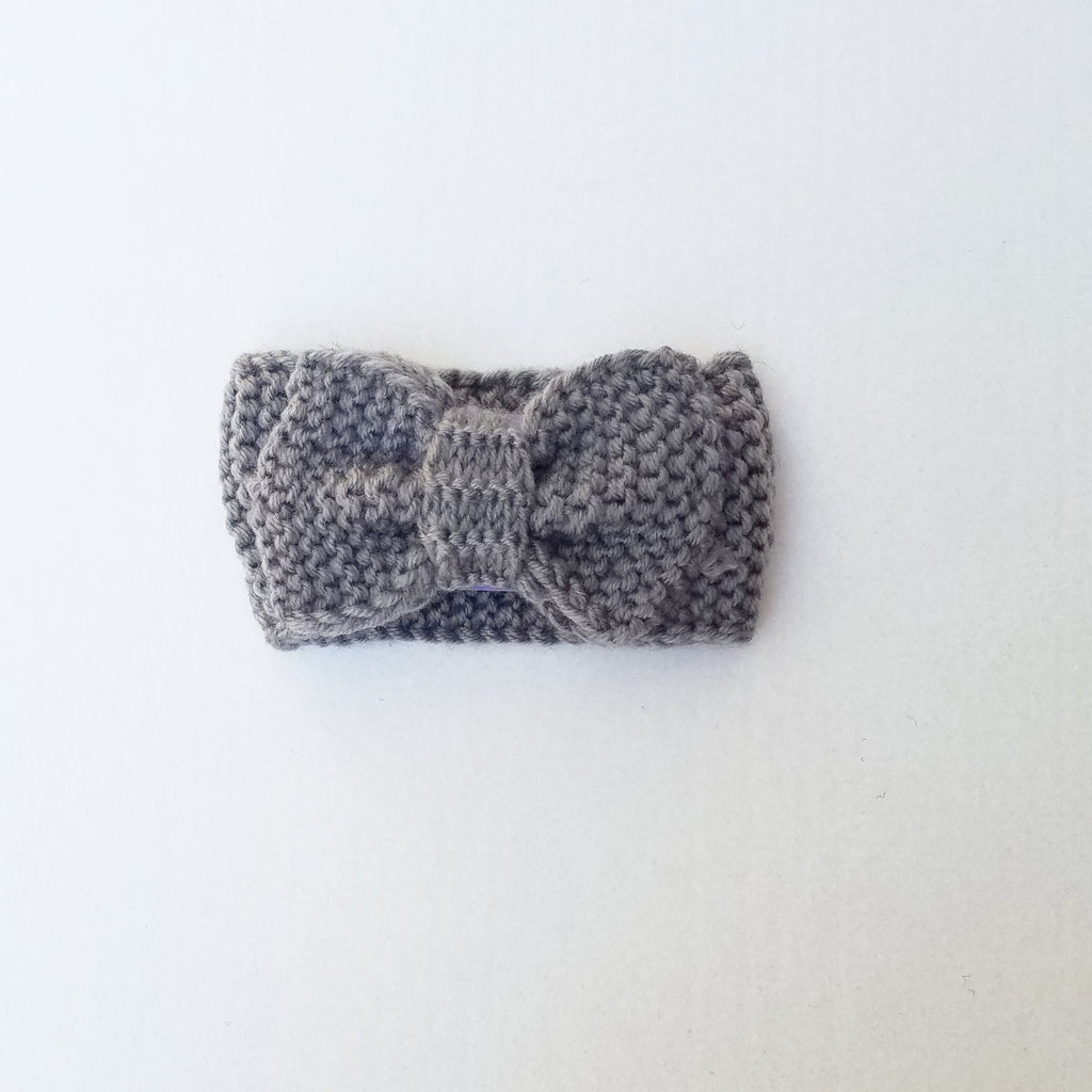 Chunky knit bow headband for girls, grey knit ear covers for kids and adults