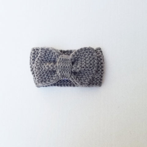 Handmade Knit Bow Headband & Ear Covers -  Grey