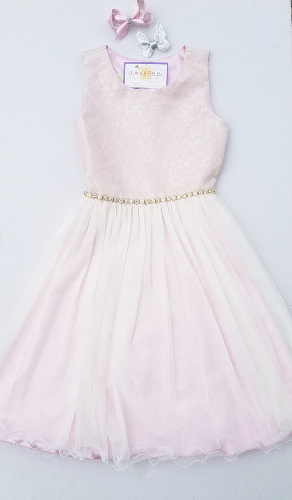girls flower girl, easter dress for tweens.  Orchid pink with gold and rhinestones.
