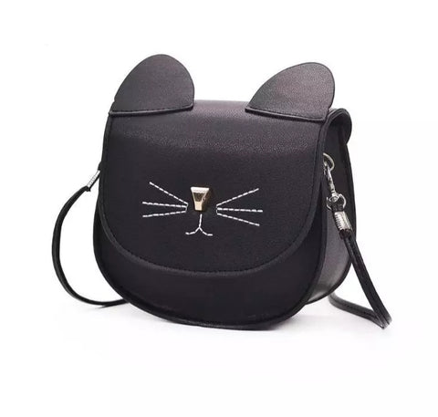 Accessories - Leatherette Purse for Kids, Black Kitty Cat