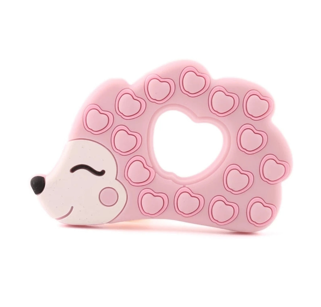 woodland creature teether, pink hedge hog, silicone teething toy