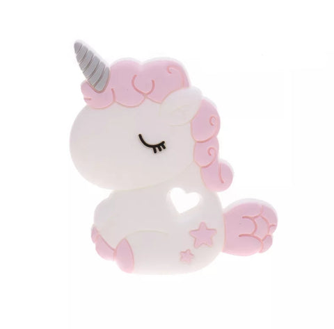 Chew/Teething Accessory - Silicone Teething Toy, Pink & White Unicorn
