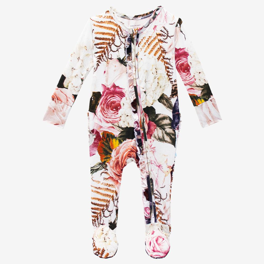 Posh Peanut Bamboo Eco Lux Ruffled Zippered Footie - Black Rose