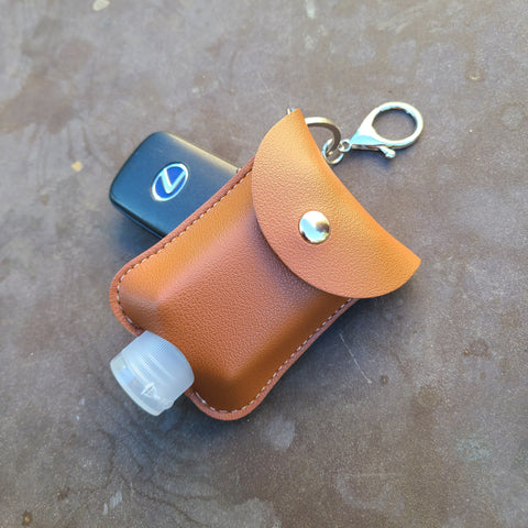 Leatherette Hand Sanitizer Clip & Keychain, Rounded Brown