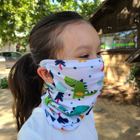 Face Mask, Washable, Reusable, Convertible - Child Size, Dinosaurs