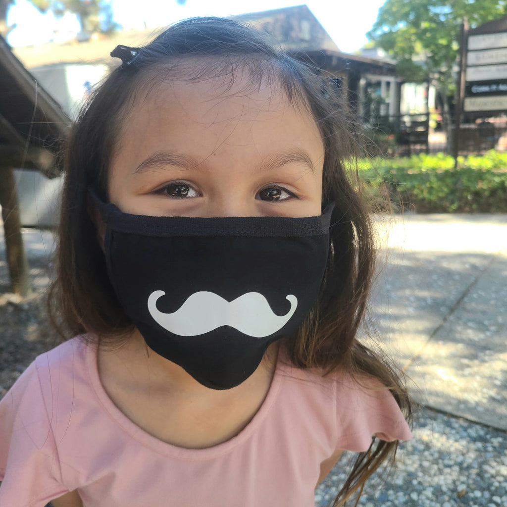 kids size face mask, black with mustache print, washable, unisex gender neutral face covering