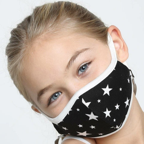 Kids Face Mask, Washable, Reusable - Unisex B/W Stars