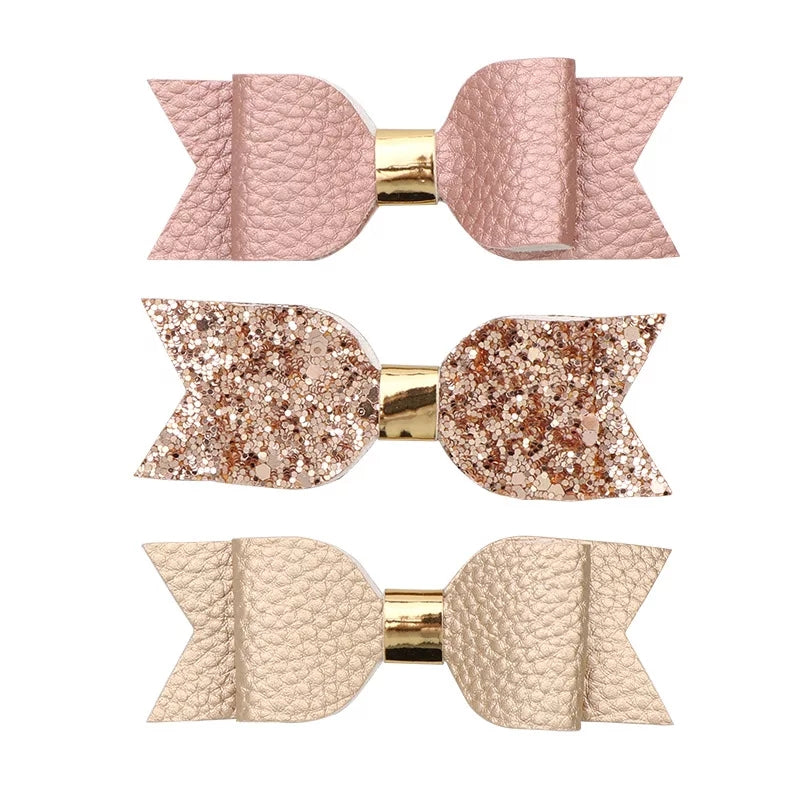 rose gold hair bows for girls, leatherette and glitter hairclips