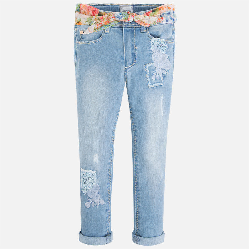Mayoral 3531, Embroidered Lace Applique Rolled Skinny Jeans w/Scarf Belt