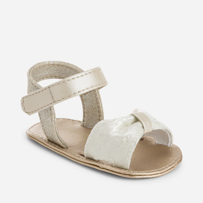 Baby girls summer dressy sandals, ivory, sparkle