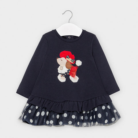 2965 Mixed Fabric Polka Dot Tulle Dress, Navy French Poodle
