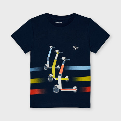 3037 Mayoral Boys Scooter Graphic Print T-Shirt, Navy