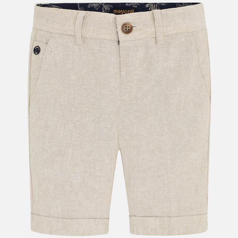 Mayoral 3253 tan parchment linen bermuda dress shorts for boys