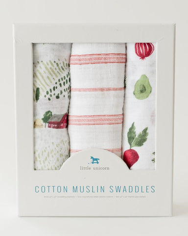 3 Pack Cotton Muslin Swaddle Blankets - Rolling Hills