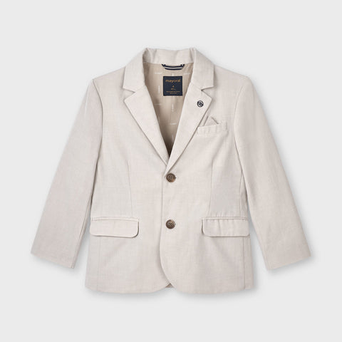 3404 Mayoral Boys Latte Tailored Linen Jacket