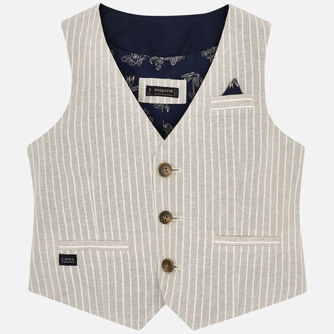 3438 Mayoral Tan Parchment Linen 3 Button Striped Vest