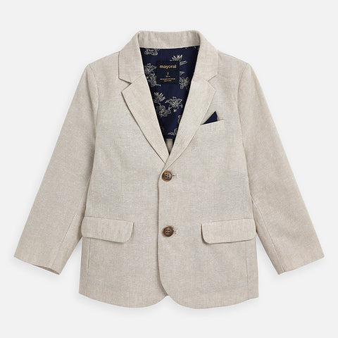 3443 Mayoral Tan Linen 2 Button Tailored Blazer, Parchment