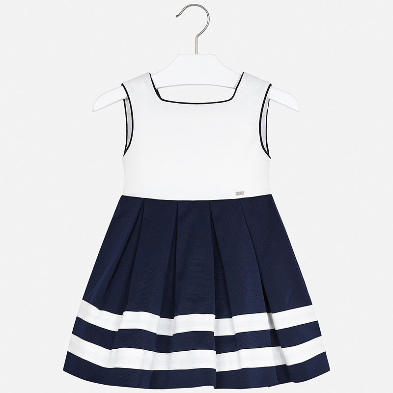 3924 Mayoral Spain Navy and White Pleated Dress for mini girls, classic wedding or Easter dress
