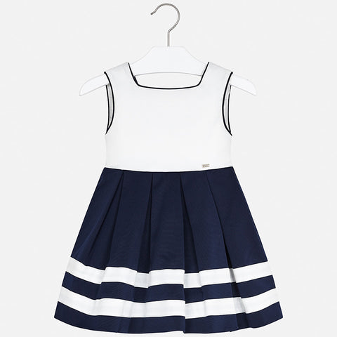 3924 Mayoral Girls Classic Navy & White Pleated, Low Back Pleated Dress