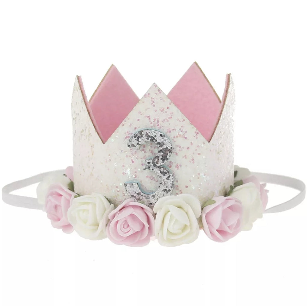 3rd birthday crown, birthday hat with glitter and flowers, pink