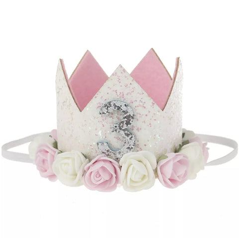 "Birthday Crown, Headband, Birthday Hat ""3"", Soft Pink"