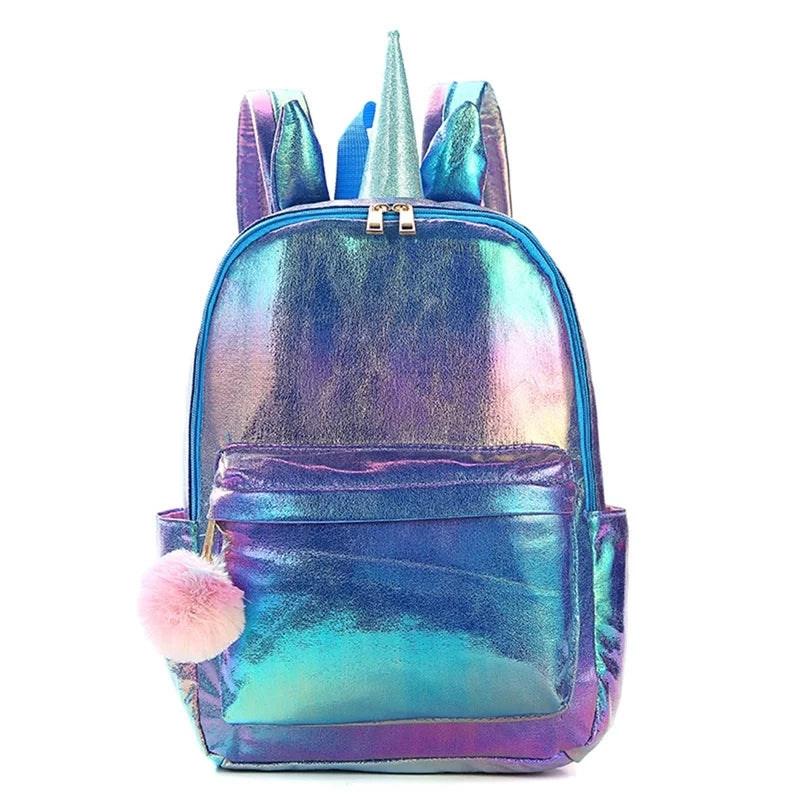 back to school unicorn backpack, iridescent purple and blue with horn and ears