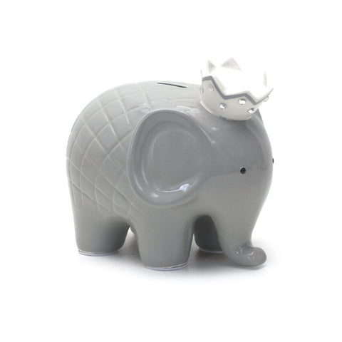 Child to Cherish - Coco Ceramic Hand Painted Elephant Bank - Grey