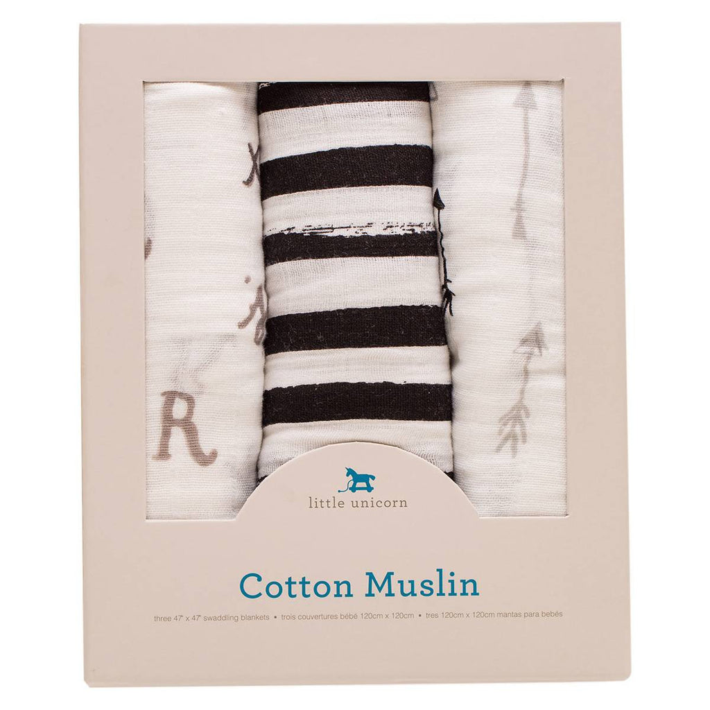 Little Unicorn Cotton Muslin Swaddle Blankets, Black and White
